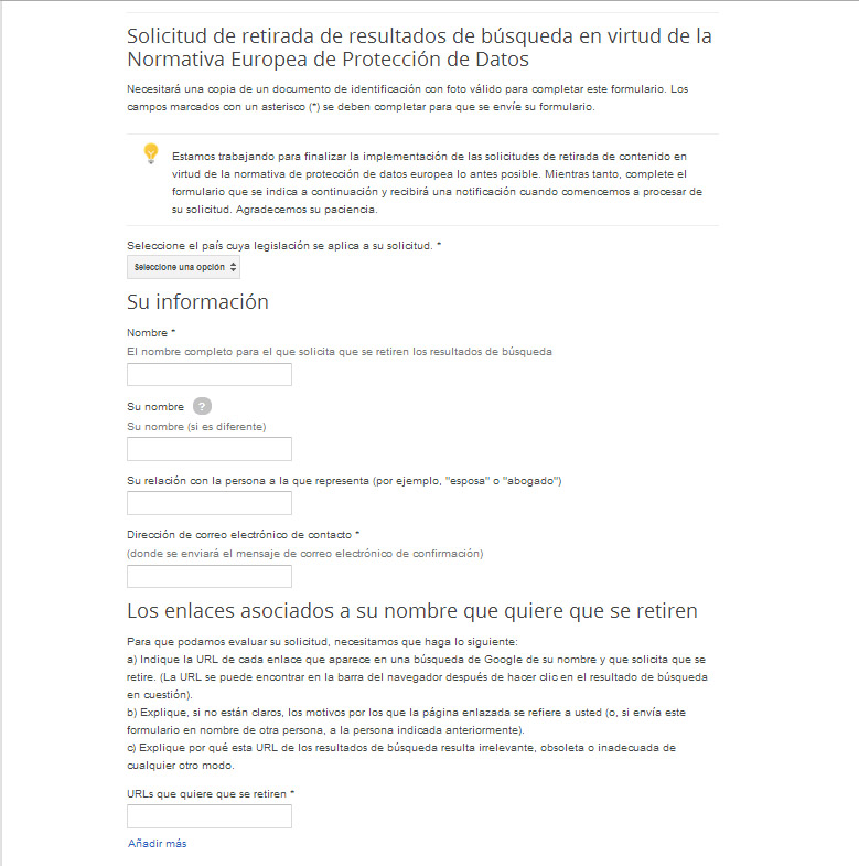 solicitud google